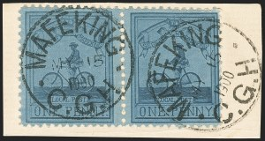 Sale Number 1130, Lot Number 1389, Cape of Good Hope incl. MafekingCAPE OF GOOD HOPE, Mafeking, 1900, 1p Blue on Blue Laid, Major Goodyear (178; SG 17), CAPE OF GOOD HOPE, Mafeking, 1900, 1p Blue on Blue Laid, Major Goodyear (178; SG 17)