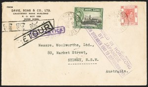 Sale Number 1130, Lot Number 1425, Gibraltar thru Hong KongHONG KONG, 1941, Japanese Occupation Air Mail Cover, HONG KONG, 1941, Japanese Occupation Air Mail Cover