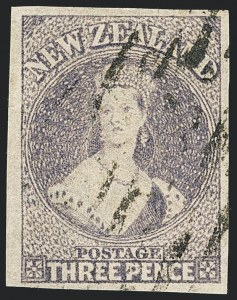 Sale Number 1130, Lot Number 1549, Natal thru NyasalandNEW ZEALAND, 1866, 3p Lilac, Imperforate (33b; SG 117a; Campbell Patterson A3d(X)), NEW ZEALAND, 1866, 3p Lilac, Imperforate (33b; SG 117a; Campbell Patterson A3d(X))