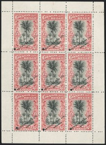 Sale Number 1130, Lot Number 1657, Belgian Congo - Dr. Maulding Collection - 1909-15 Pictorials and Later IssuesBELGIAN CONGO, 1910-15, 15c Red & Black, Waterlow Specimen (47S; COB 55S), BELGIAN CONGO, 1910-15, 15c Red & Black, Waterlow Specimen (47S; COB 55S)
