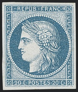 Sale Number 1130, Lot Number 1784, French Colonies thru German East AfricaFRENCH COLONIES, 1871, 20c Blue on Bluish Paper (11; Yvert 12), FRENCH COLONIES, 1871, 20c Blue on Bluish Paper (11; Yvert 12)