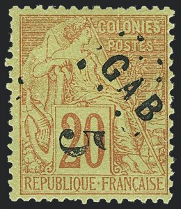 Sale Number 1130, Lot Number 1786, French Colonies thru German East AfricaGABON, 1886, 5c on 20c Red on Green (1; Yvert 1), GABON, 1886, 5c on 20c Red on Green (1; Yvert 1)