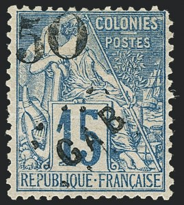 Sale Number 1130, Lot Number 1787, French Colonies thru German East AfricaGABON, 1886, 50c on 15c Blue (4; Yvert 4), GABON, 1886, 50c on 15c Blue (4; Yvert 4)