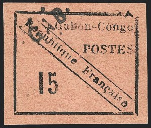 Sale Number 1130, Lot Number 1789, French Colonies thru German East AfricaGABON, 1889, 15c Black on Rose (14; Yvert 14), GABON, 1889, 15c Black on Rose (14; Yvert 14)