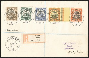 Sale Number 1130, Lot Number 1907, Togo (French) thru Vatican CityTOGO (FRENCH), 1914, 5c on 3pf, 10c on 5pf, 20c, 25c and 30c Surcharges (153, 154, 158-160; Yvert 23b, 24, 25-27), TOGO (FRENCH), 1914, 5c on 3pf, 10c on 5pf, 20c, 25c and 30c Surcharges (153, 154, 158-160; Yvert 23b, 24, 25-27)