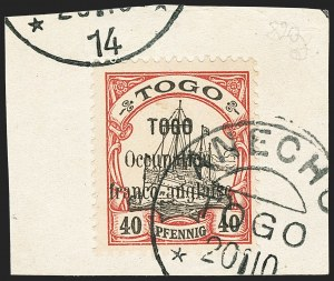 Sale Number 1130, Lot Number 1908, Togo (French) thru Vatican CityTOGO (FRENCH), 1914, 40pf Lake & Black (161; Yvert 28), TOGO (FRENCH), 1914, 40pf Lake & Black (161; Yvert 28)