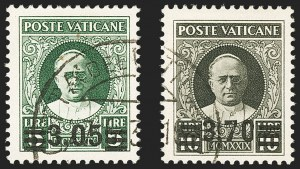 Sale Number 1130, Lot Number 1915, Togo (French) thru Vatican CityVATICAN CITY, 1934, 40c on 80c-3.70l on 10l Overprints (35-40; Sassone 35-40), VATICAN CITY, 1934, 40c on 80c-3.70l on 10l Overprints (35-40; Sassone 35-40)