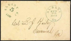 Sale Number 1132, Lot Number 3031, Postmasters Provisionals: Abingdon Va. thru Barnwell C.H. S.C.Albany Ga., 5c Greenish Blue entire (3XU1), Albany Ga., 5c Greenish Blue entire (3XU1)