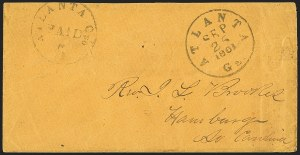 Sale Number 1132, Lot Number 3037, Postmasters Provisionals: Abingdon Va. thru Barnwell C.H. S.C.Atlanta Ga., 5c Black entire (6XU2), Atlanta Ga., 5c Black entire (6XU2)