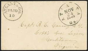 Sale Number 1132, Lot Number 3039, Postmasters Provisionals: Abingdon Va. thru Barnwell C.H. S.C.Atlanta Ga., 10c Black entire (6XU6), Atlanta Ga., 10c Black entire (6XU6)
