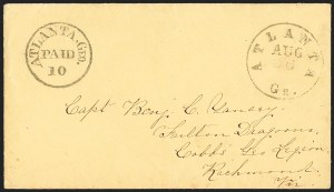 Sale Number 1132, Lot Number 3040, Postmasters Provisionals: Abingdon Va. thru Barnwell C.H. S.C.Atlanta Ga., 10c Black entire (6XU6), Atlanta Ga., 10c Black entire (6XU6)