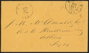 Sale Number 1132, Lot Number 3042, Postmasters Provisionals: Abingdon Va. thru Barnwell C.H. S.C.Austin Tex., 10c on 5c Black Revalued entire (9XU1 var), Austin Tex., 10c on 5c Black Revalued entire (9XU1 var)