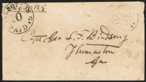 Sale Number 1132, Lot Number 3215, Postmasters Provisionals: Rheatown Tenn. thru Talbotton Ga.Talbotton Ga., 10c Black entire (94XU2), Talbotton Ga., 10c Black entire (94XU2)