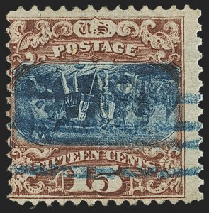 Sale Number 1133, Lot Number 237, 15c 1869 Pictorial Issue, off-Cover (Scott 118-119b)15c Brown & Blue, Ty. II, Center Inverted (119b), 15c Brown & Blue, Ty. II, Center Inverted (119b)