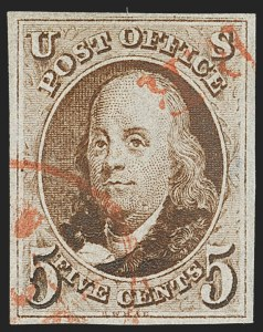 Sale Number 1133, Lot Number 29, 1847 Issue (Scott 1-1d)5c Brown, Double Transfer Ty. A (1-A), 5c Brown, Double Transfer Ty. A (1-A)