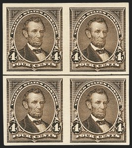 Sale Number 1133, Lot Number 392, 1894-98 Bureau Issues (Scott 246-284)4c Dark Brown, Imperforate (269a), 4c Dark Brown, Imperforate (269a)
