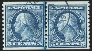 Sale Number 1133, Lot Number 429, 1902 Issue thru Washington-Franklin Issues  (Scott 300-534B)5c Blue, Coil (458), 5c Blue, Coil (458)