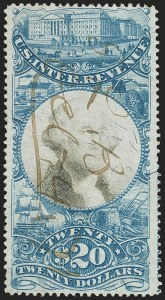 Sale Number 1133, Lot Number 564, Second Issue thru Private Die Revenues and Revenue Group Lots$20.00 Blue & Black, Second Issue (R129), $20.00 Blue & Black, Second Issue (R129)