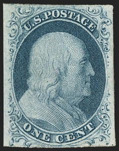 Sale Number 1133, Lot Number 57, 1851-56 Issue (Scott 5-17)1c Blue, Ty. II, Plate 3 (7), 1c Blue, Ty. II, Plate 3 (7)