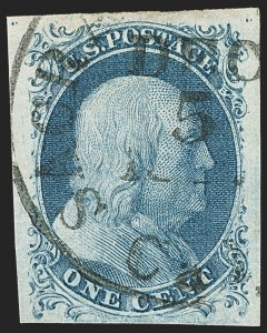 Sale Number 1133, Lot Number 58, 1851-56 Issue (Scott 5-17)1c Blue, Ty. II (7), 1c Blue, Ty. II (7)