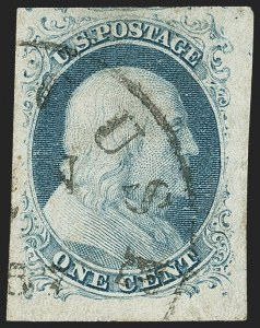 Sale Number 1133, Lot Number 60, 1851-56 Issue (Scott 5-17)1c Blue, Ty. II (7), 1c Blue, Ty. II (7)