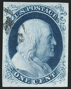 Sale Number 1133, Lot Number 62, 1851-56 Issue (Scott 5-17)1c Blue, Ty. III (8), 1c Blue, Ty. III (8)