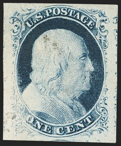 Sale Number 1133, Lot Number 63, 1851-56 Issue (Scott 5-17)1c Blue, Ty. IV (9), 1c Blue, Ty. IV (9)