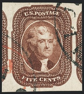 Sale Number 1133, Lot Number 73, 1851-56 Issue (Scott 5-17)5c Red Brown (12), 5c Red Brown (12)