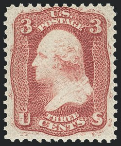 Sale Number 1133, Lot Number 90, 1861-66 Issue (Scott 56-78)3c Brown Rose, First Design (56), 3c Brown Rose, First Design (56)