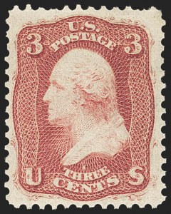 Sale Number 1133, Lot Number 91, 1861-66 Issue (Scott 56-78)3c Brown Rose, First Design (56), 3c Brown Rose, First Design (56)