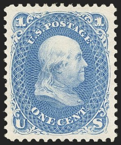 Sale Number 1134, Lot Number 103, 1875 Re-Issue of 1861-66 Issue (Scott 102-111)1c Blue, Re-Issue (102), 1c Blue, Re-Issue (102)