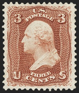 Sale Number 1134, Lot Number 105, 1875 Re-Issue of 1861-66 Issue (Scott 102-111)3c Brown Red, Re-Issue (104), 3c Brown Red, Re-Issue (104)