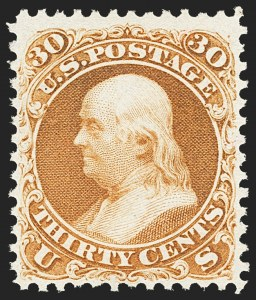Sale Number 1134, Lot Number 111, 1875 Re-Issue of 1861-66 Issue (Scott 102-111)30c Brownish Orange, Re-Issue (110), 30c Brownish Orange, Re-Issue (110)