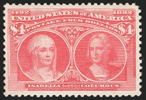 Sale Number 1134, Lot Number 196, 1893 Columbian Issue (Scott 230-245)$4.00 Rose Carmine, Columbian (244a), $4.00 Rose Carmine, Columbian (244a)