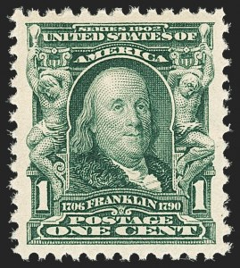Sale Number 1134, Lot Number 250, 1902-08 Issues (Scott 300-322)1c Blue Green (300), 1c Blue Green (300)