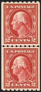 Sale Number 1134, Lot Number 344, 1912-14 Washington-Franklin Issue (Scott 405-423)1c Green, 2c Carmine, Coils (410-411), 1c Green, 2c Carmine, Coils (410-411)