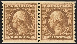 Sale Number 1134, Lot Number 383, 1913-15 Washington-Franklin Issues (Scott 424-461)4c Brown, Coil (457), 4c Brown, Coil (457)