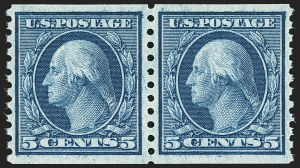 Sale Number 1134, Lot Number 384, 1913-15 Washington-Franklin Issues (Scott 424-461)5c Blue, Coil (458), 5c Blue, Coil (458)