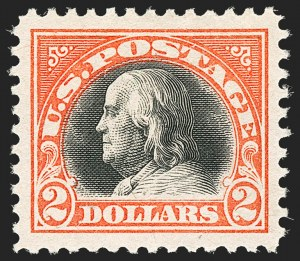 Sale Number 1134, Lot Number 428, 1917-19 Issues (Scott 481-524)$2.00 Orange Red & Black (523), $2.00 Orange Red & Black (523)