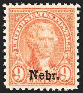Sale Number 1134, Lot Number 471, 1922-29 and Later Issues (Scott 551-679)9c Nebr. Ovpt. (678), 9c Nebr. Ovpt. (678)