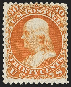 Sale Number 1134, Lot Number 65, 1861-66 Issue First Dsigns and Colors (Scott 55-62B)30c Red Orange, First Color (61), 30c Red Orange, First Color (61)