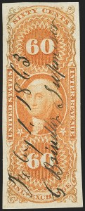 Sale Number 1137, Lot Number 1219, First Issue Imperforate (Scott R1a-R65a)60c Inland Exchange, Imperforate (R64a), 60c Inland Exchange, Imperforate (R64a)