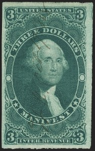 Sale Number 1137, Lot Number 1231, First Issue Imperforate (Scott R71a-R86a)$3.00 Manifest, Imperforate (R86a), $3.00 Manifest, Imperforate (R86a)