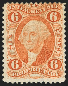 Sale Number 1137, Lot Number 1270, First Issue Perforated (Scott R2c-R102c, Balances)6c Proprietary, Perforated (R31c), 6c Proprietary, Perforated (R31c)