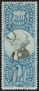 Sale Number 1137, Lot Number 1294, Second Issue (Scott R114-R133)$10.00 Blue & Black, Second Issue (R128), $10.00 Blue & Black, Second Issue (R128)