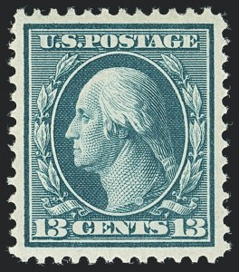 Sale Number 1138, Lot Number 1536, 1908-12 Issue (Scott 332-355)13c Blue Green (339), 13c Blue Green (339)