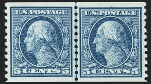 Sale Number 1138, Lot Number 1611, 1912-23 Issues (Scott 441-461)5c Blue, Coil (458), 5c Blue, Coil (458)