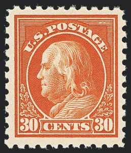 Sale Number 1138, Lot Number 1628, 1912-23 Issues (Scott 463-480)30c Orange Red, Perf 10 (476A), 30c Orange Red, Perf 10 (476A)