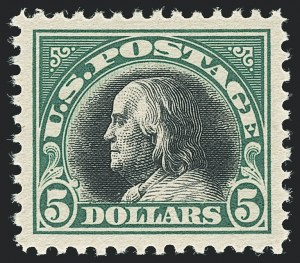 Sale Number 1138, Lot Number 1657, 1912-23 Issue (Scott 519-550)$5.00 Deep Green & Black (524), $5.00 Deep Green & Black (524)