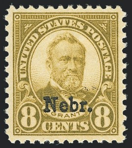 Sale Number 1138, Lot Number 1714, Kansas-Nebraska and Later Issues (Scott 658-701)8c Nebr. Ovpt. (677), 8c Nebr. Ovpt. (677)